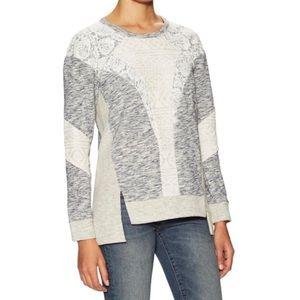Rebecca Taylor Grey Lurex Lace Cotton Sweater